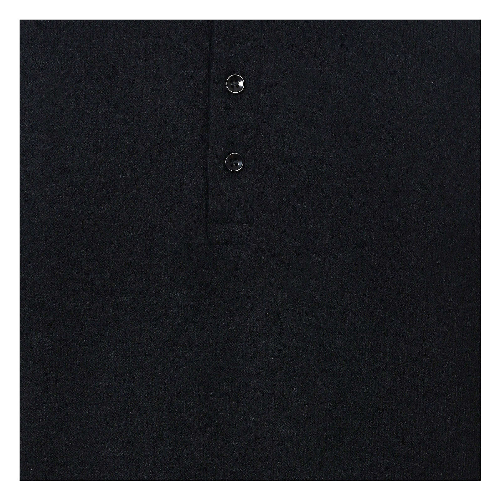 Polo clergy manches longues noir tissu mixte laine 4