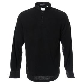Polo clergy manches longues noir tissu mixte laine s1