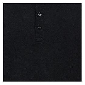 Polo clergy manches longues noir tissu mixte laine s2