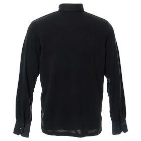 Polo clergy manches longues noir tissu mixte laine s3