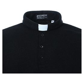 Polo clergy manches longues noir tissu mixte laine s4