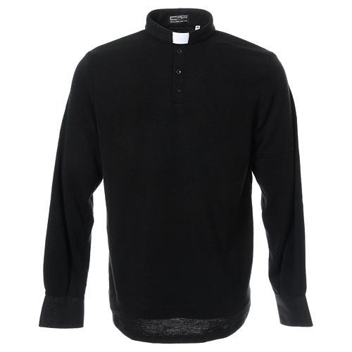 Polo clergy manches longues noir tissu mixte laine 1