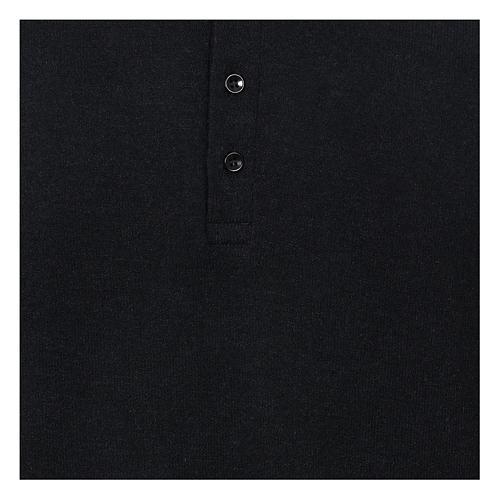 Polo clergy manches longues noir tissu mixte laine 2