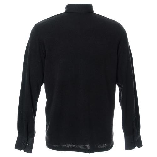 Polo clergy manches longues noir tissu mixte laine 3