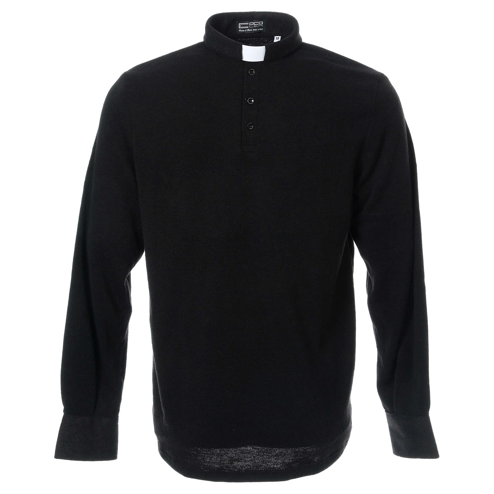 Sweter dla kapłana polo czarny z Mieszanej Wełny 4