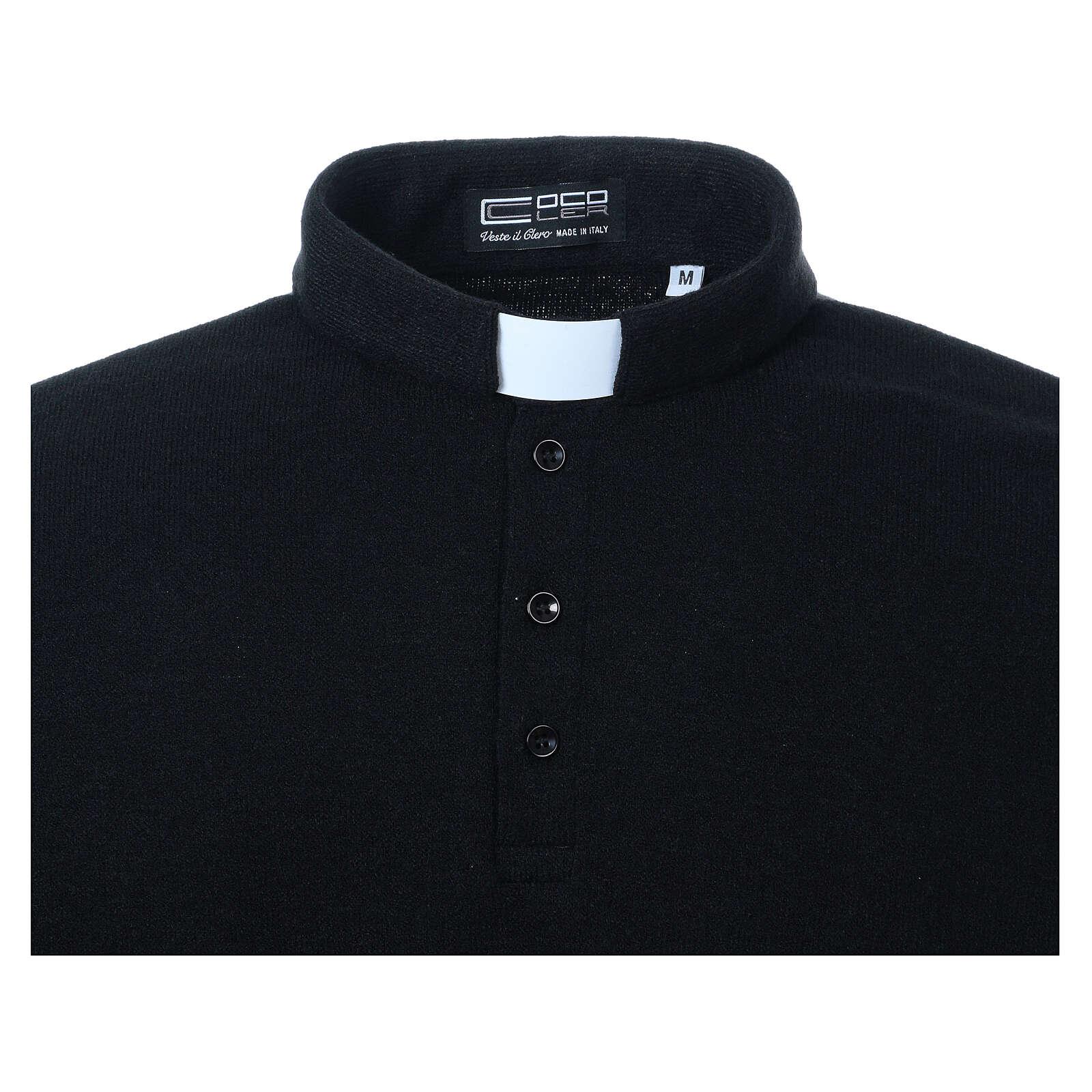 Camisola polo M/L preto em tecido misto lã 4