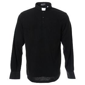 Camisola polo M/L preto em tecido misto lã s1
