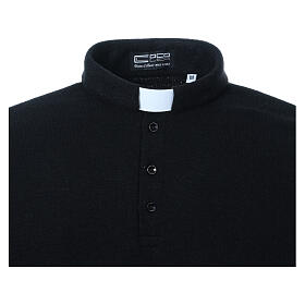 Camisola polo M/L preto em tecido misto lã s4