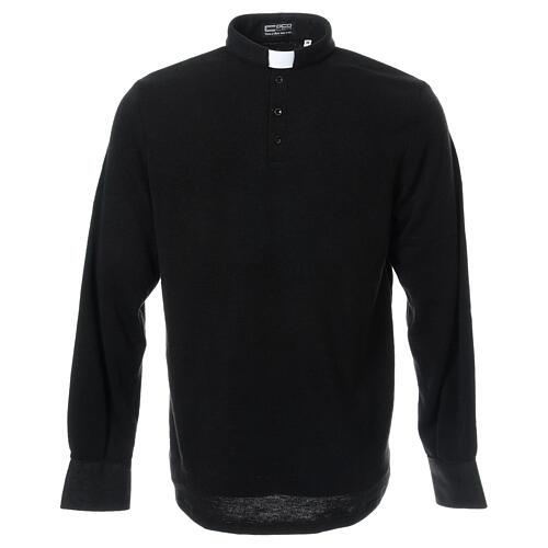 Camisola polo M/L preto em tecido misto lã 1
