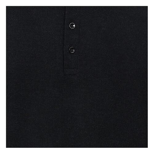 Camisola polo M/L preto em tecido misto lã 2