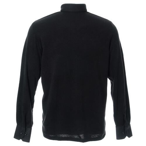 Camisola polo M/L preto em tecido misto lã 3