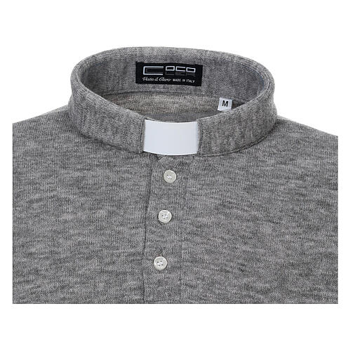 Polo clergy Gris Claro de Mixta Lana 3