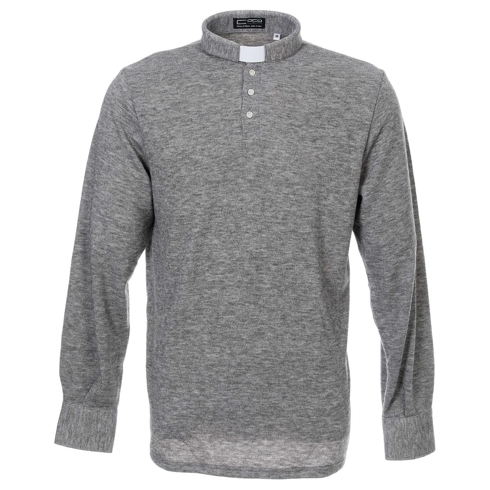 Polo manches longues gris tissu mixte laine 4