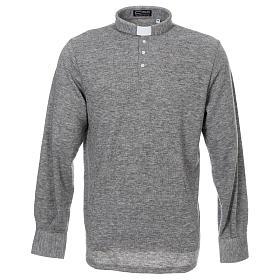 Polo manches longues gris tissu mixte laine s1