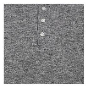 Polo manches longues gris tissu mixte laine s2