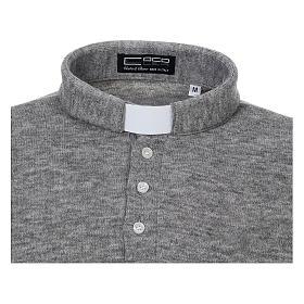Polo manches longues gris tissu mixte laine s3
