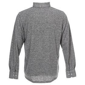 Polo manches longues gris tissu mixte laine s4