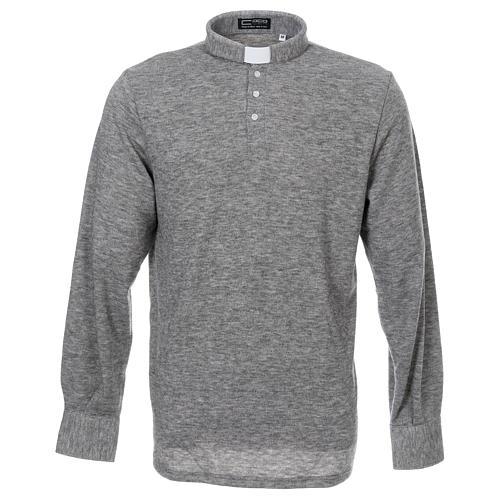 Polo manches longues gris tissu mixte laine 1
