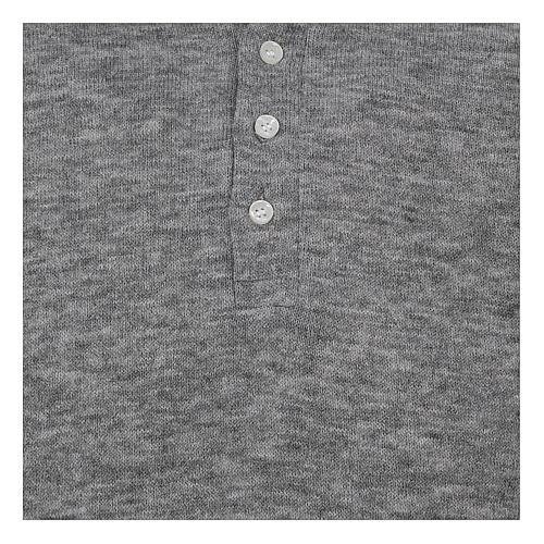 Polo manches longues gris tissu mixte laine 2