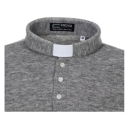 Polo manches longues gris tissu mixte laine 3