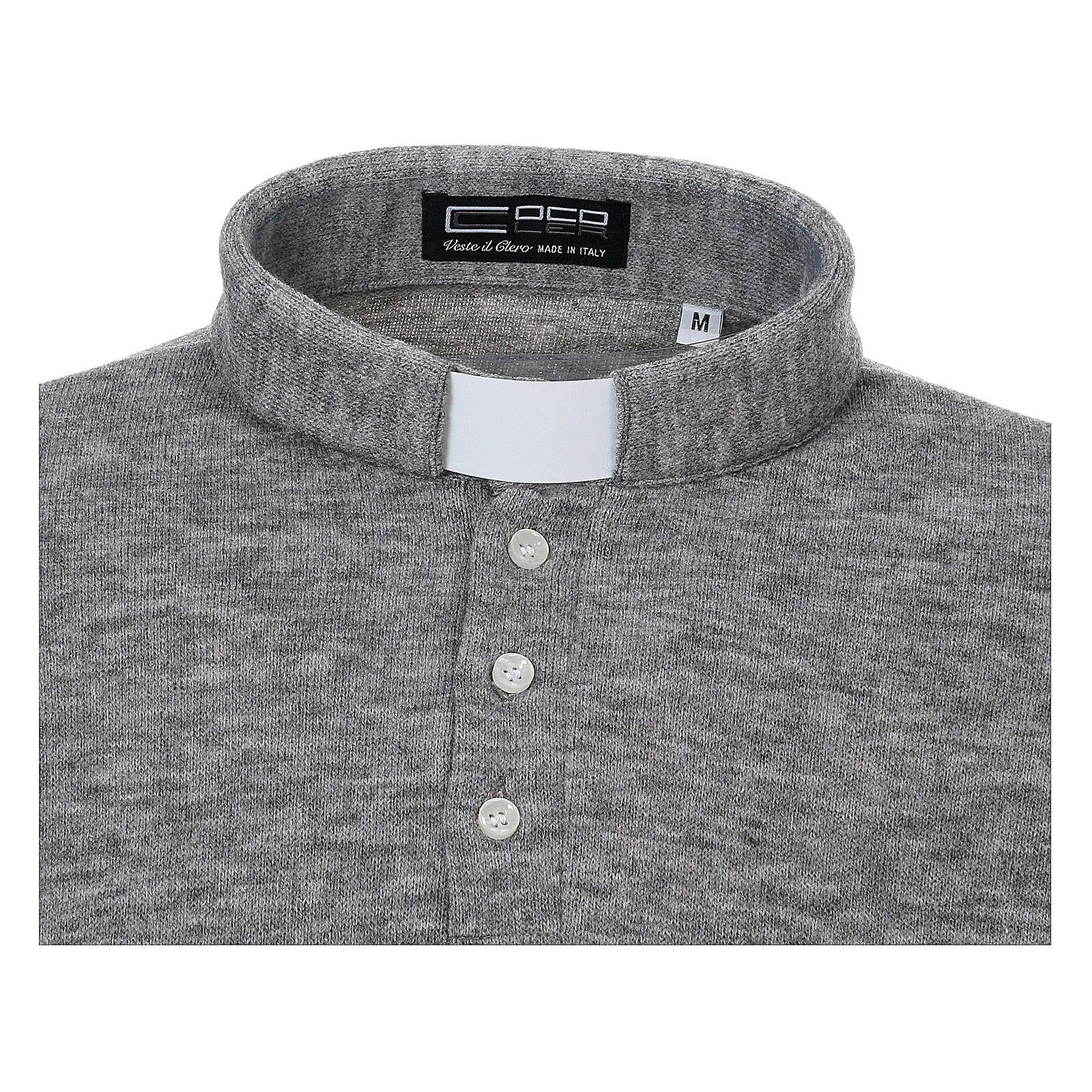 Koszula Polo kapłańska Jasnoszara z Mieszanej Wełny 4