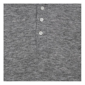 Koszula Polo kapłańska Jasnoszara z Mieszanej Wełny s2