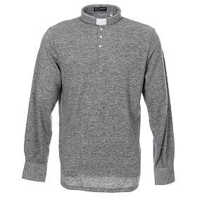 Camisola polo M/L cinzento claro em tecido misto lã s1