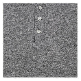 Camisola polo M/L cinzento claro em tecido misto lã s2