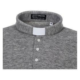 Camisola polo M/L cinzento claro em tecido misto lã s3