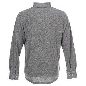 Camisola polo M/L cinzento claro em tecido misto lã s4