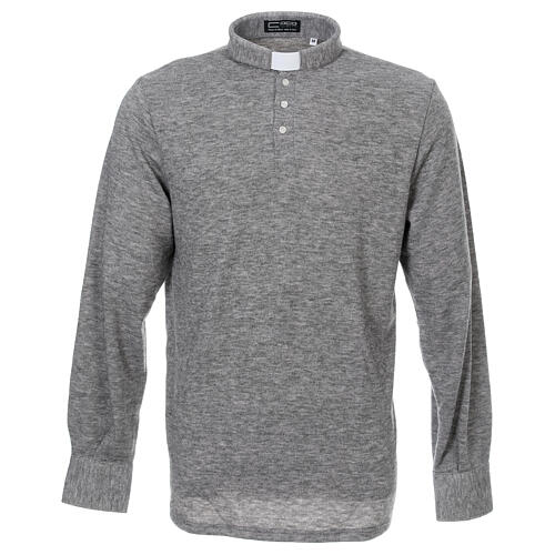 Camisola polo M/L cinzento claro em tecido misto lã 1