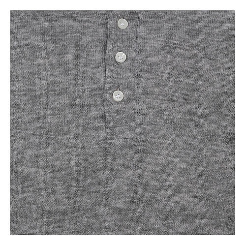 Camisola polo M/L cinzento claro em tecido misto lã 2
