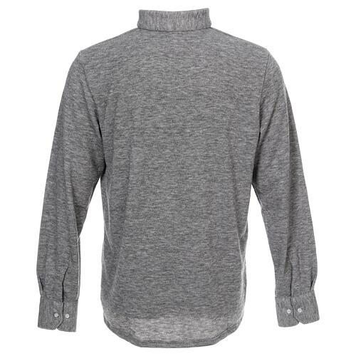 Camisola polo M/L cinzento claro em tecido misto lã 4