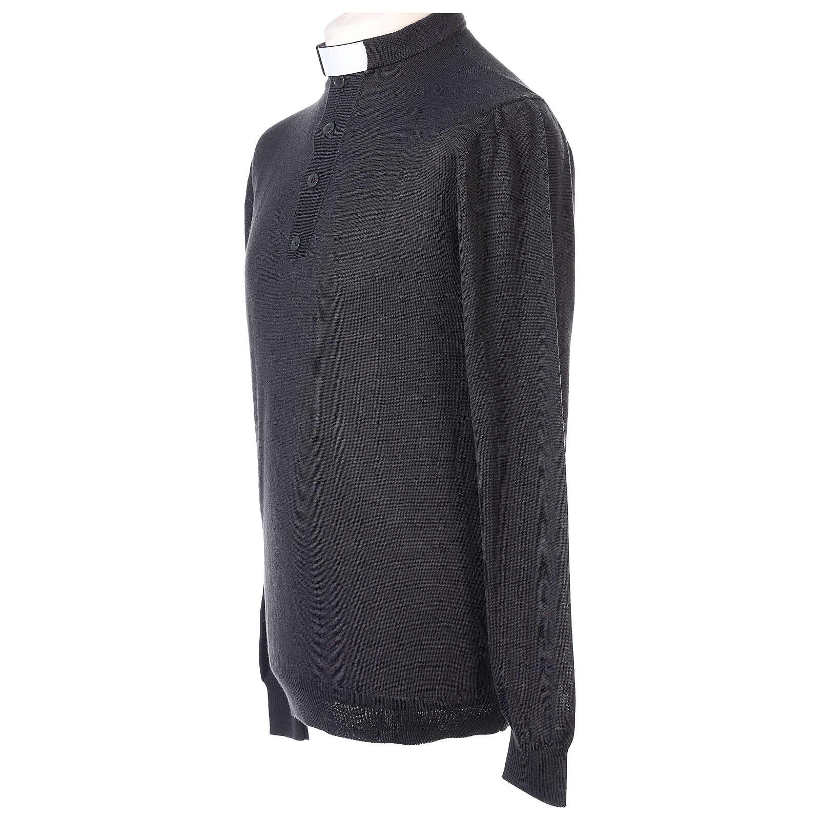 Camiseta Lana Merinos cuello clergy Gris oscuro 4