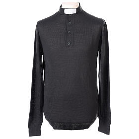 Camiseta Lana Merinos cuello clergy Gris oscuro s1