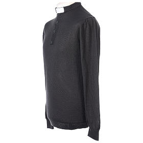 Camiseta Lana Merinos cuello clergy Gris oscuro s3