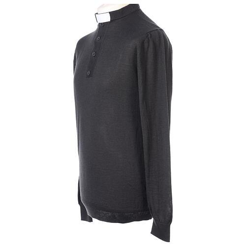 Camiseta Lana Merinos cuello clergy Gris oscuro 3