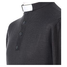 Pull laine Mérinos col clergy Gris foncé s2