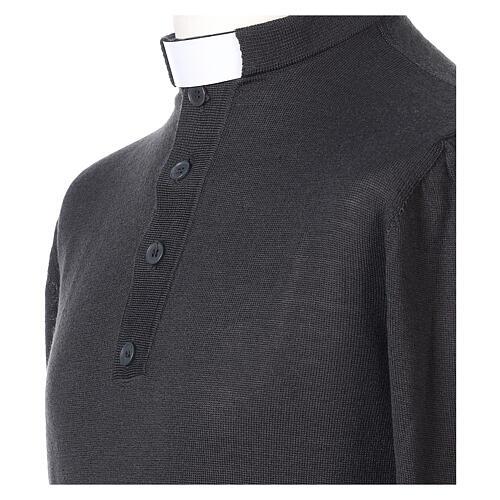 Pull laine Mérinos col clergy Gris foncé 2