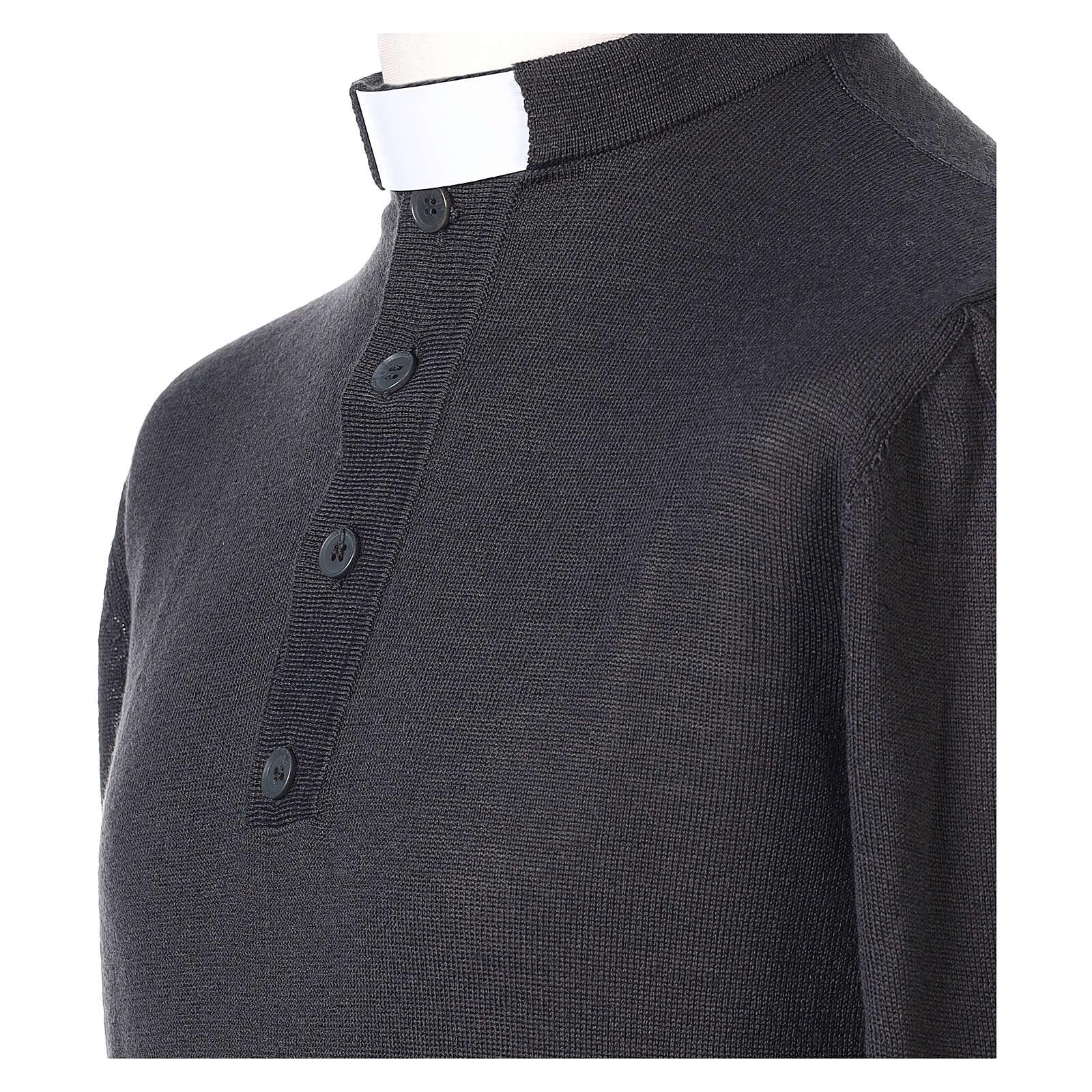 Maglia Lana Merinos collo clergy Grigio scuro 4