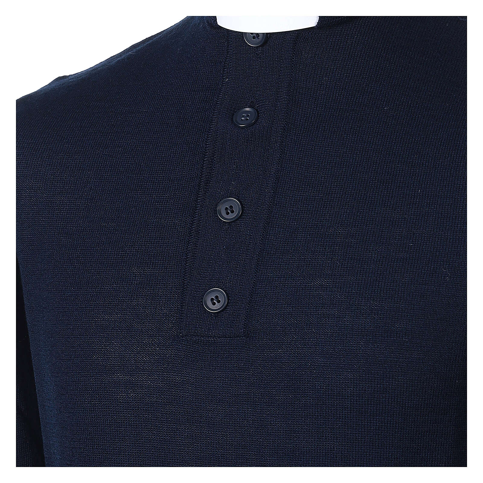 Camiseta Mixto Merino cuello clergy azul 4