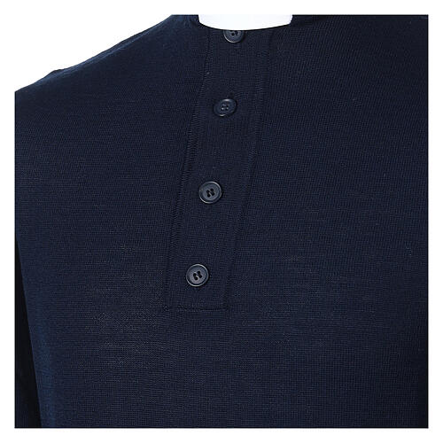 Camiseta Mixto Merino cuello clergy azul 2