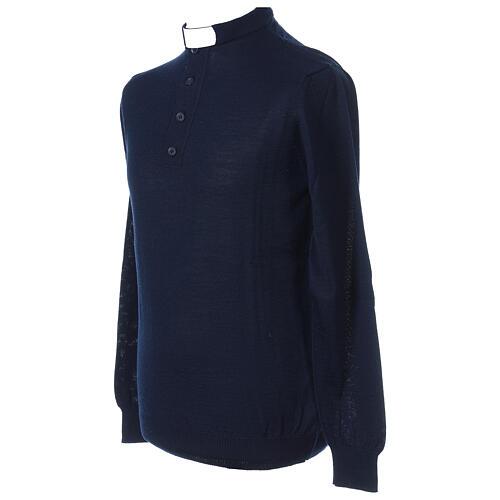 Camiseta Mixto Merino cuello clergy azul 3
