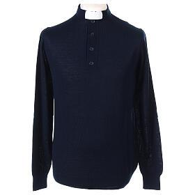 Pull laine Mérinos col clergy Bleu s1