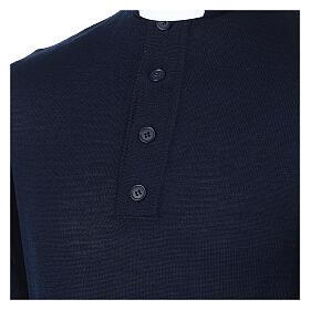 Pull laine Mérinos col clergy Bleu s2
