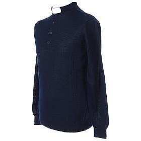 Pull laine Mérinos col clergy Bleu s3