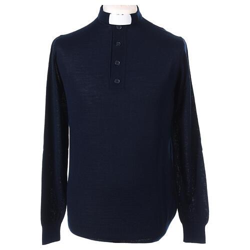 Pull laine Mérinos col clergy Bleu 1
