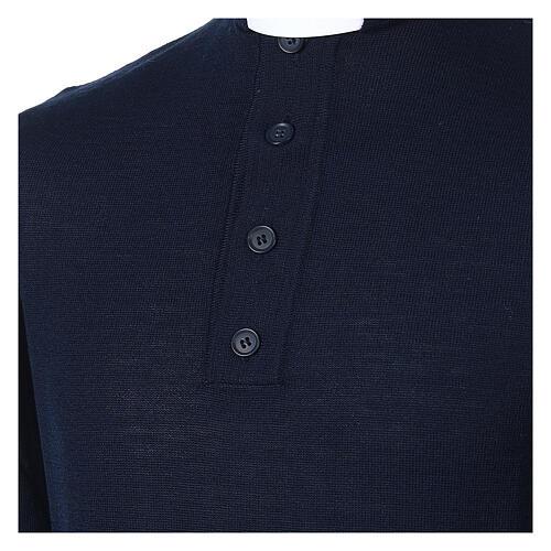 Pull laine Mérinos col clergy Bleu 2