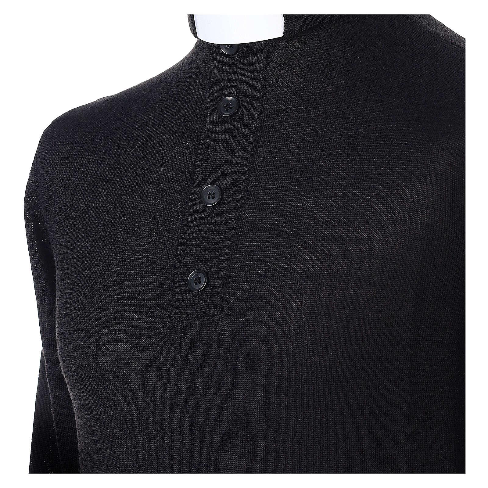 Jersey Merino cuello clergy negro 4