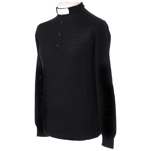 Jersey Merino cuello clergy negro 3